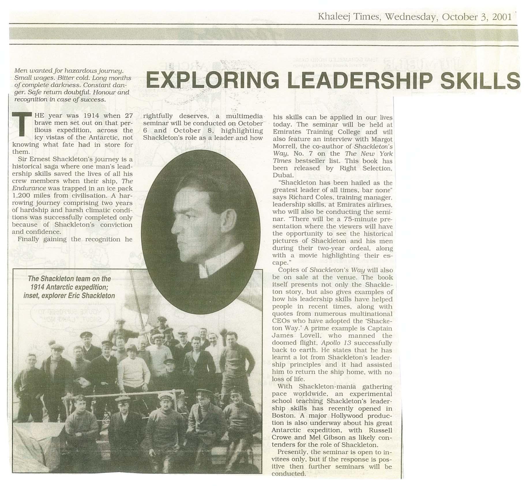 shackleton magazine article