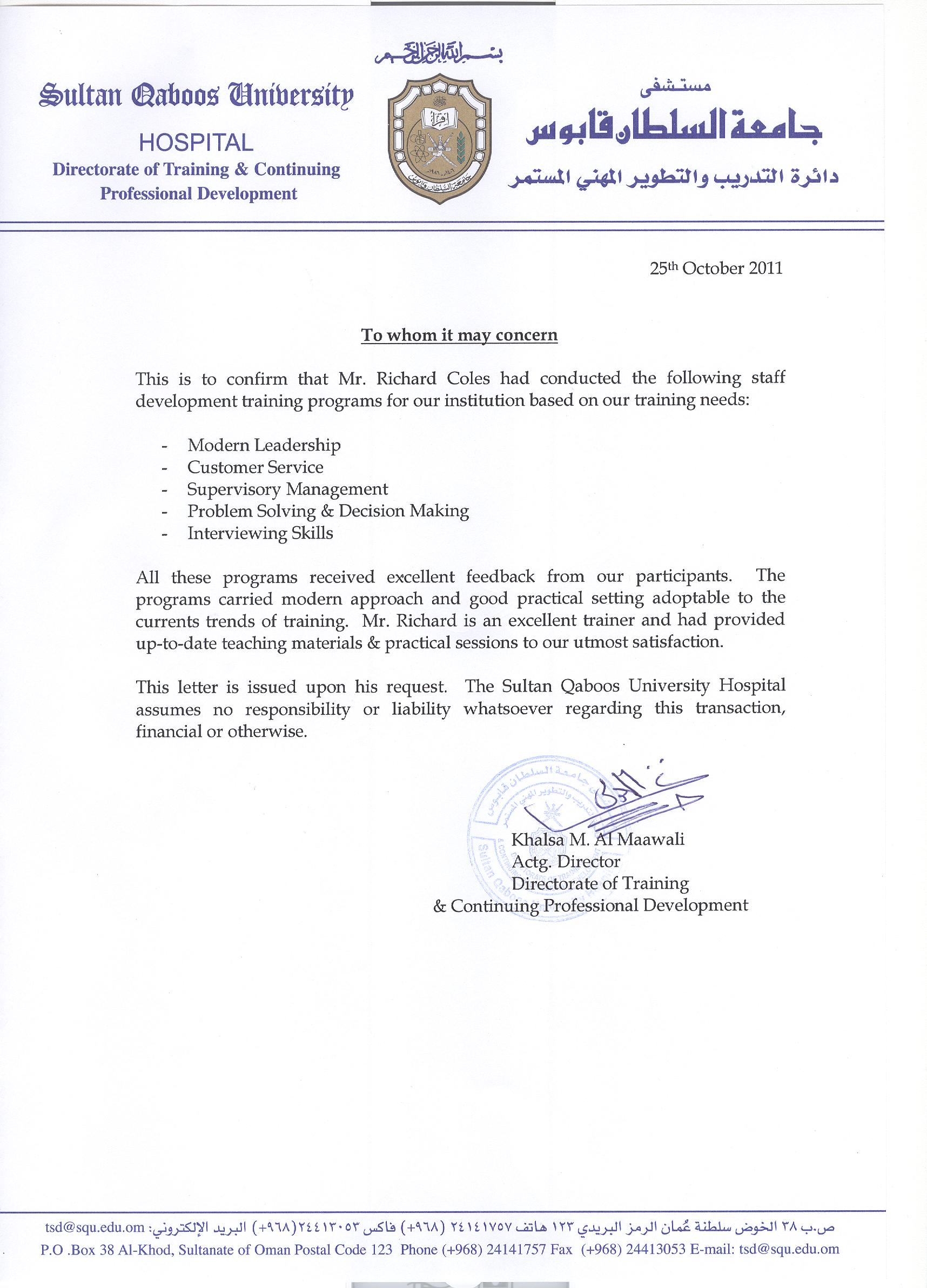 coles training  u2013 testimonial documents